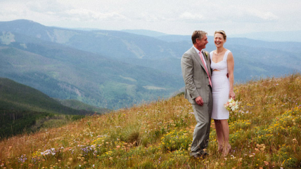 Joy & Jerry atop Vail Mountain's Wedding Deck