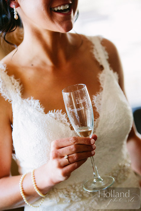 Personalized champagne glasses at L&R's Steamboat Springs wedding