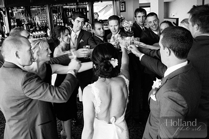 Pre-ceremony toast at L&R's Steamboat Springs wedding