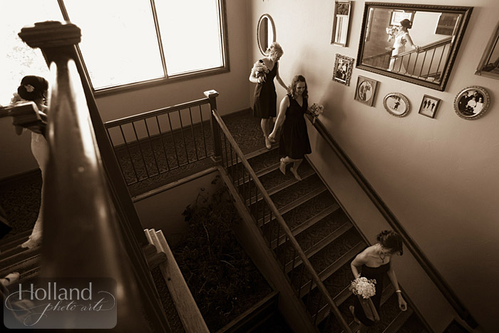 Walking down stairs for ceremony L&R's Steamboat Springs wedding