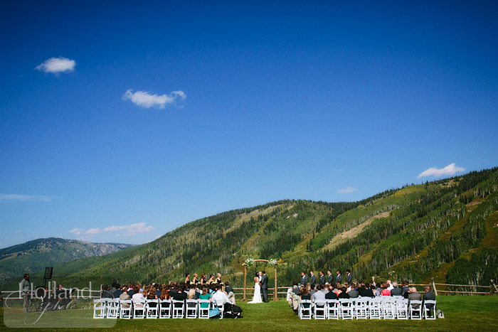 Mountain views during ceremony at  L&R's Steamboat Springs wedding
