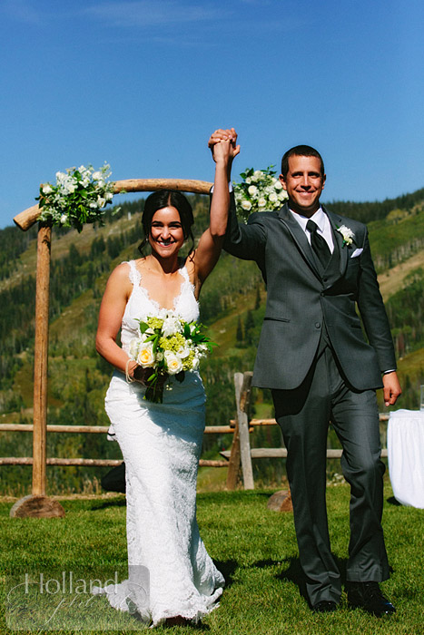 Celebratory hand-waving at L&R's Steamboat Springs wedding