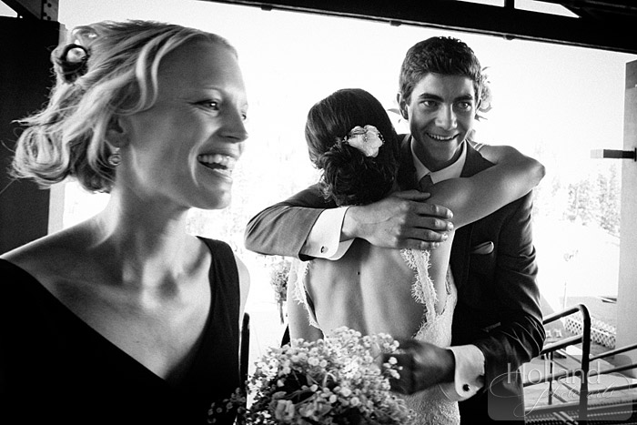 Celebratory hugs at L&R's Steamboat Springs wedding