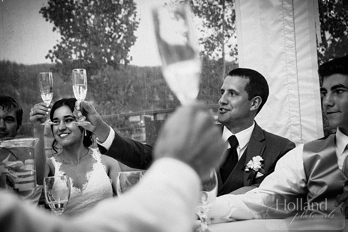 Toasts during L&R's Steamboat Springs wedding