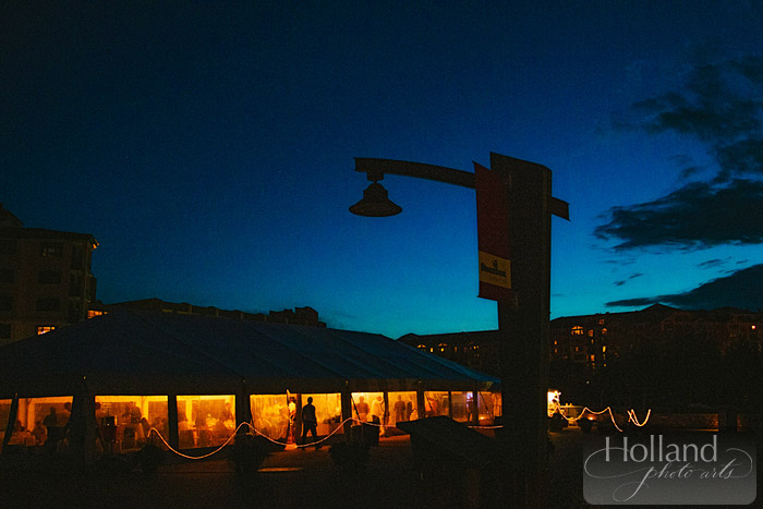 Sunset twilight at L&R's Steamboat Springs wedding