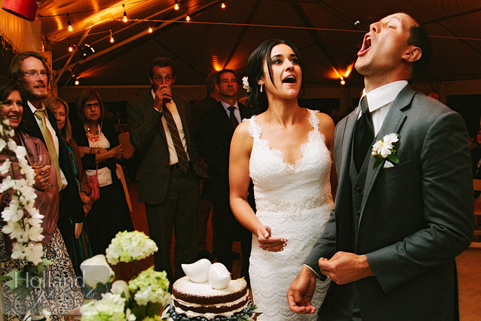 Groom catches cake in his mouth at L&R's Steamboat Springs wedding