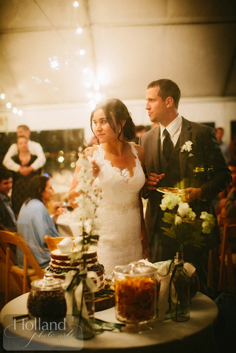 A quiet post-cake cutting moment at L&R's Steamboat Springs wedding