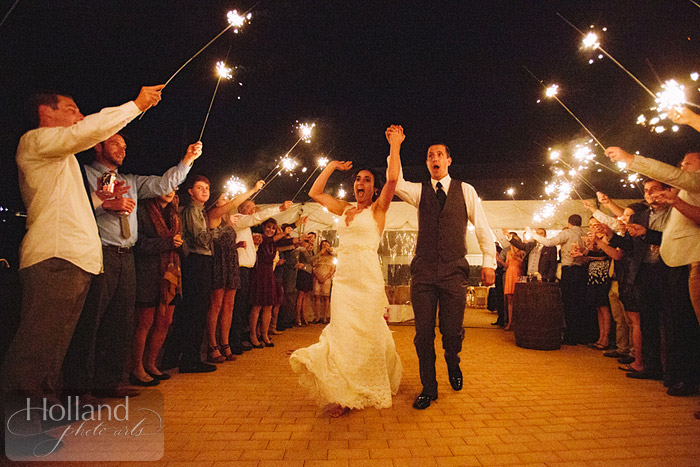 Sparkler send-off at L&R's Steamboat Springs wedding