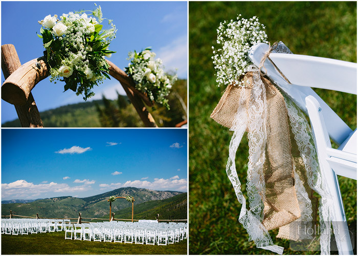 Ceremony flower details at L&R's Steamboat Springs wedding