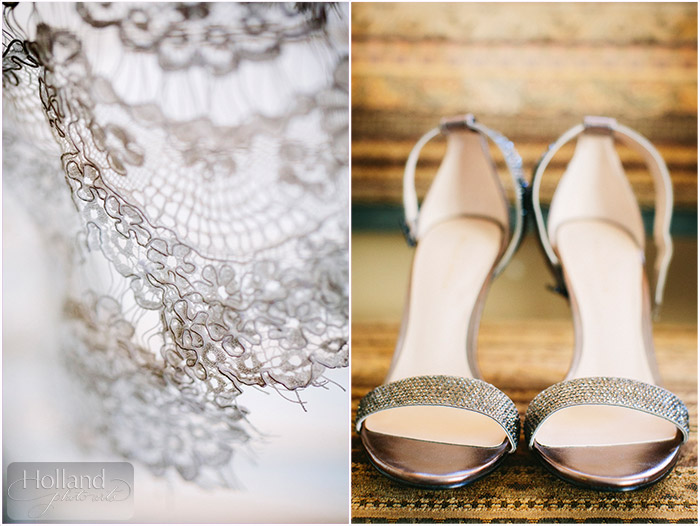 Gown and shoe details at L&R's Steamboat Springs wedding