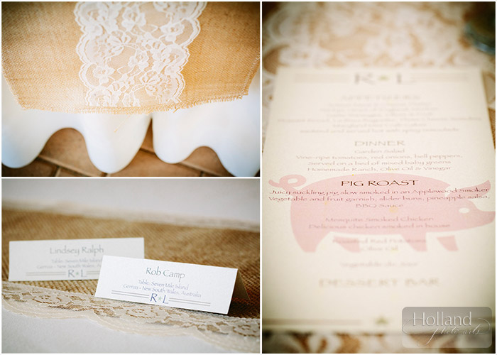 Stationery and lace at L&R's Steamboat Springs wedding