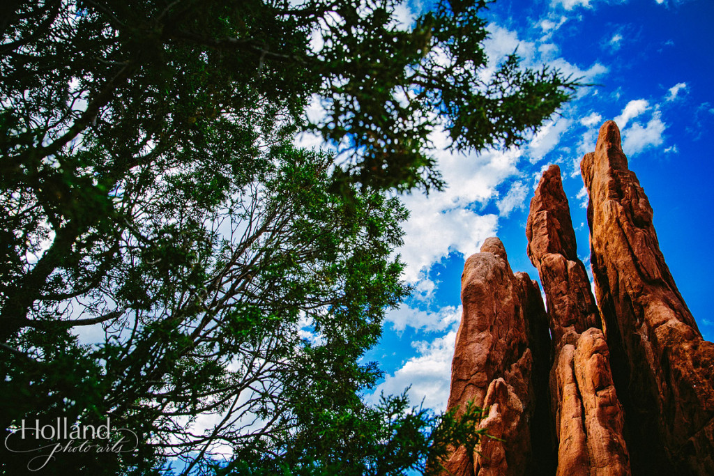 A trio of tall rocks with tree in foreground at Garden of the Gods