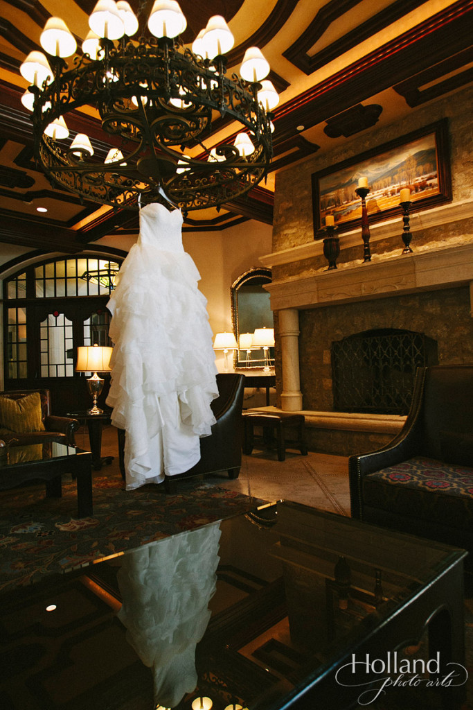 Wedding dress hanging at Arrabelle Hotel at Vail