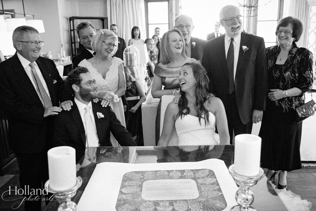 Ketubah signing with family on wedding day at Arrabelle hotel at Vail