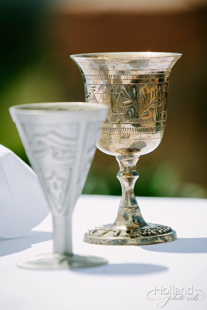 Wine glasses for Jewish wedding at Vail wedding deck