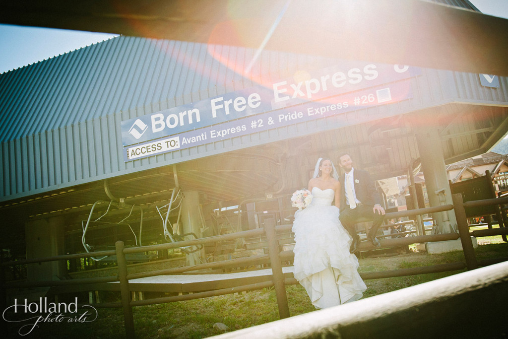 Bride and groom wedding portrait at Born Free Express  at Vail