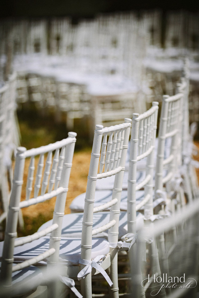 Chivari chairs lined up for wedding ceremony