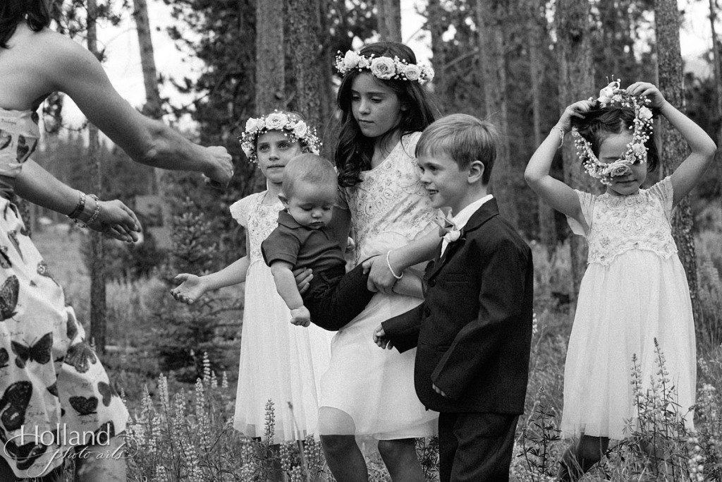 Flower girls and ring bearer funny wedding portrait