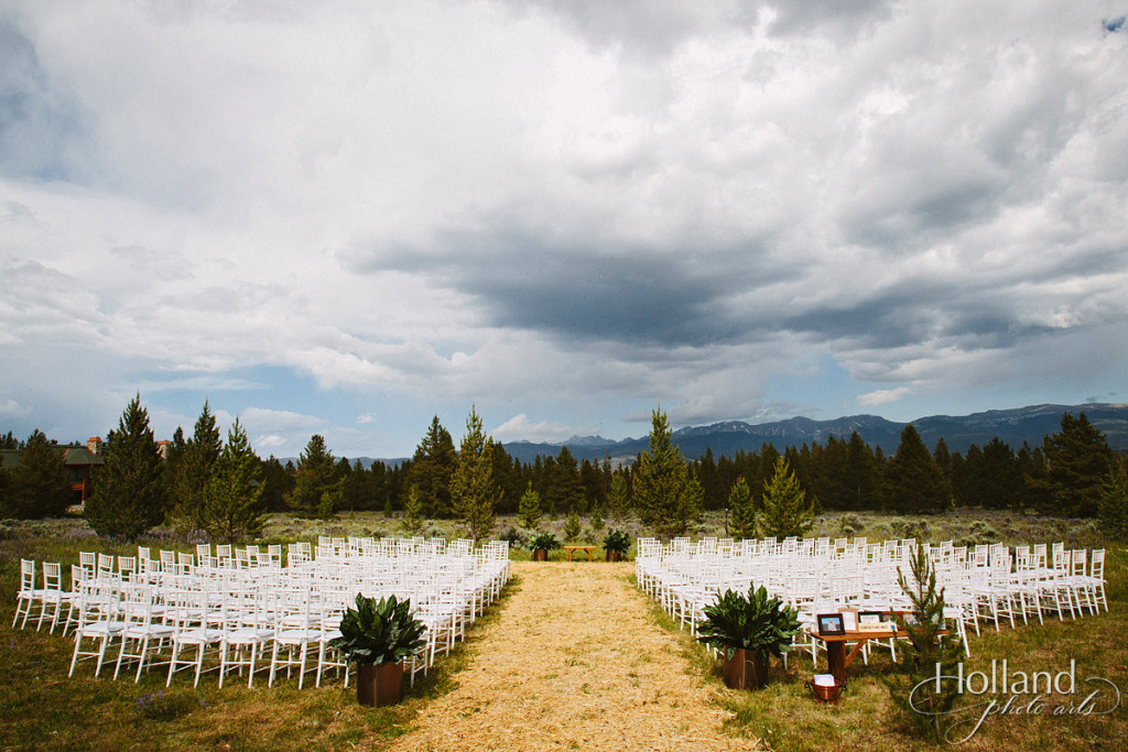 Wedding Ceremony setting with Rocky mountains in background