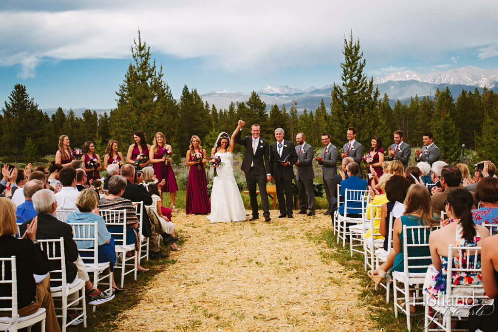 Celebration at end of Rocky mountain wedding