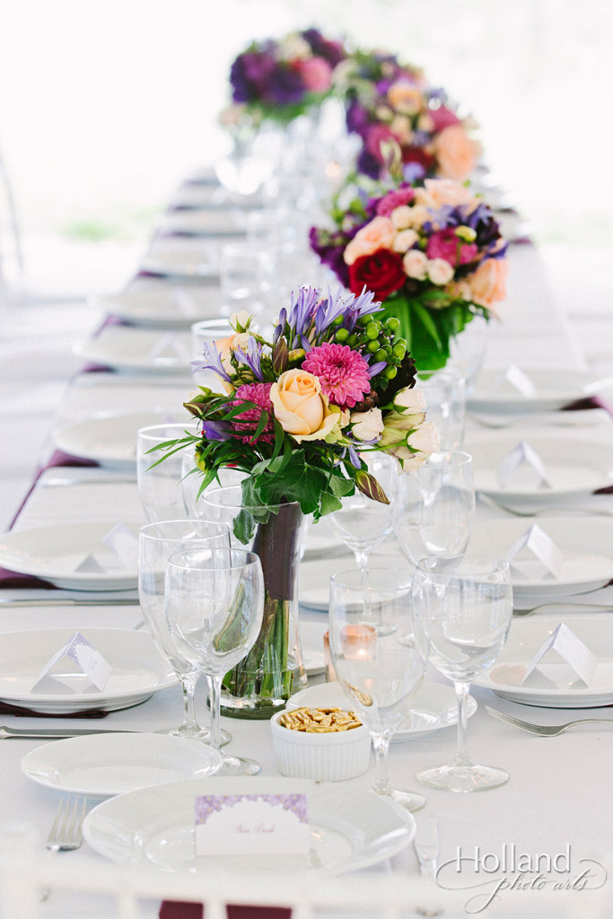 Colorful table setting at farm tables