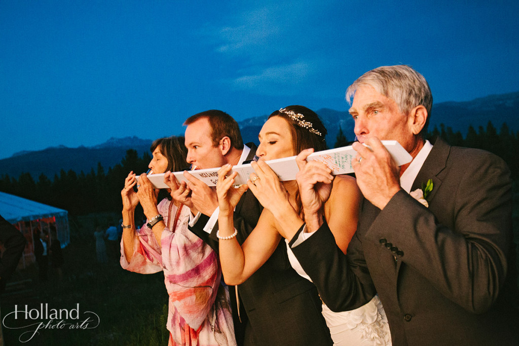Ski shots with family at wedding